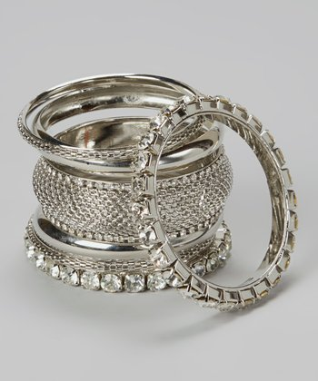 Silver Sparkle Bangle Set