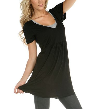 Black V-Neck Tunic - Women