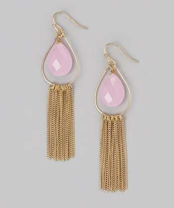 Pink & Gold Fringe Drop Earrings