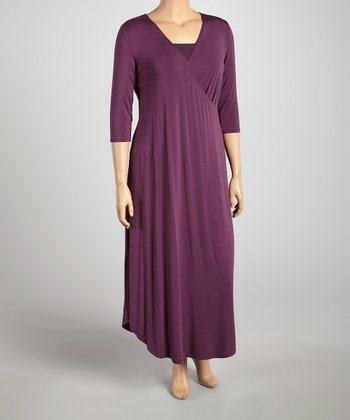 Vintage Purple The All Hours Convertible Surplice Maxi Dress - Plus