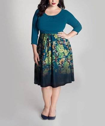 Teal Ombré Floral Lynette Three-Quarter Sleeve Dress - Plus