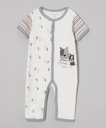 Cream & Gray Puppy Romper