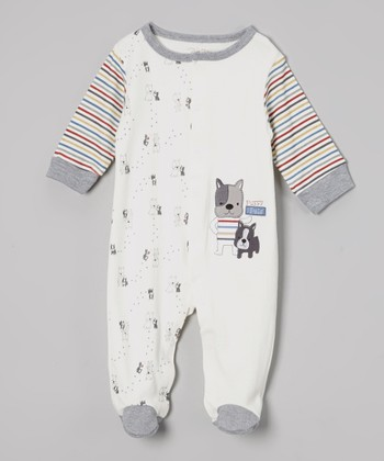 Gray & White Stripe Puppy Footie