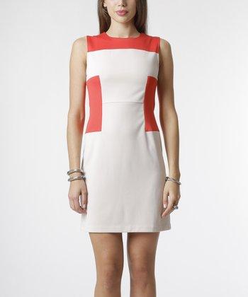 emploi New York Beige & Coral Panel Greenwich Sheath Dress