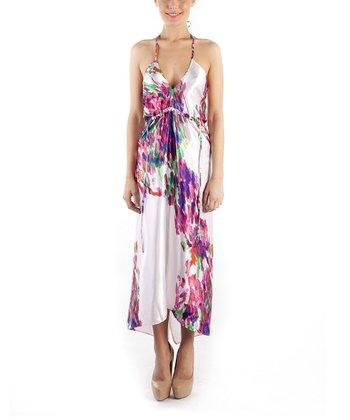 emploi New York Coral Modern Flower Grand Halter Dress