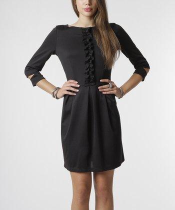 emploi New York Black Ruffle Waverly Three-Quarter Sleeve Dress