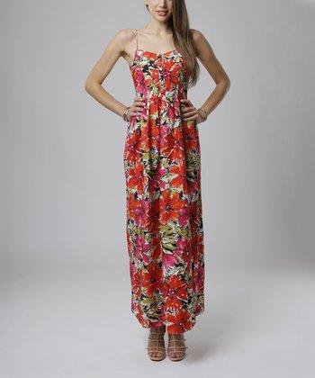 emploi New York Coral & Fuchsia Floral Sullivan Sleeveless Maxi Dress
