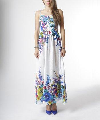 emploi New York Blue & White Garden Flower Sullivan Sleeveless Maxi Dress