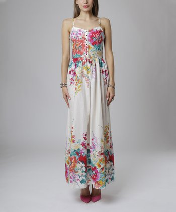 emploi New York Red Garden Flower Sullivan Sleeveless Maxi Dress