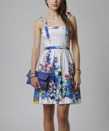emploi New York Blue & White Garden Flower Worth Sleeveless A-Line Dress