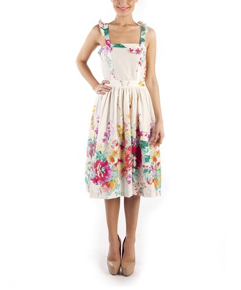 emploi New York Red Garden Flower Worth Sleeveless A-Line Dress
