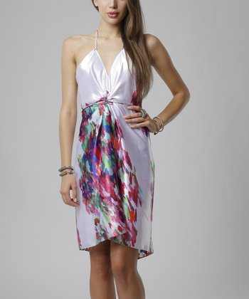 emploi New York Coral Modern Flower Jane Halter Dress