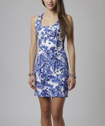emploi New York Blue Dali Flower Pearl Sleeveless Sheath Dress