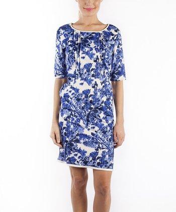 emploi New York Blue Dali Flower Maiden Sheath Dress