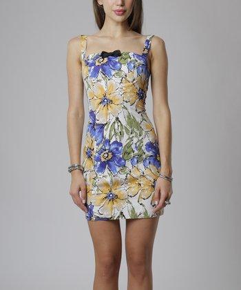 emploi New York Navy & Yellow Floral Chatham Sleeveless Sheath Dress