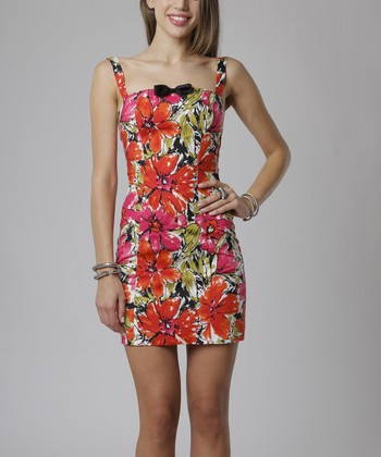 emploi New York Red & Coral Floral Chatham Sleeveless Sheath Dress