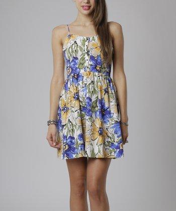 emploi New York Navy & Yellow Floral Hudson Sleeveless Dress