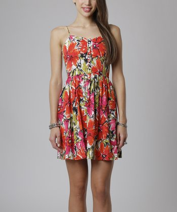 emploi New York Red & Coral Floral Hudson Sleeveless Dress
