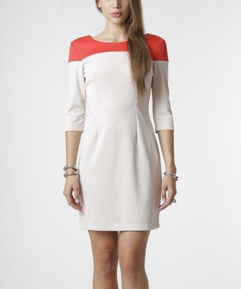 emploi New York Beige & Coral Forsyth Sheath Dress