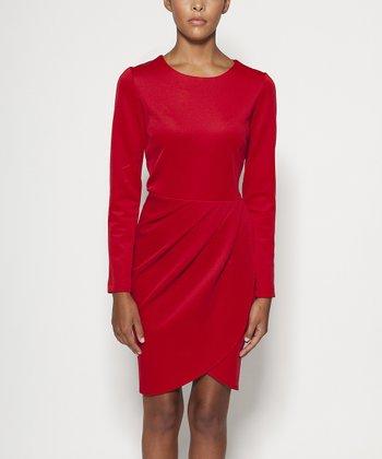 emploi New York Red Chrystie Long-Sleeve Dress