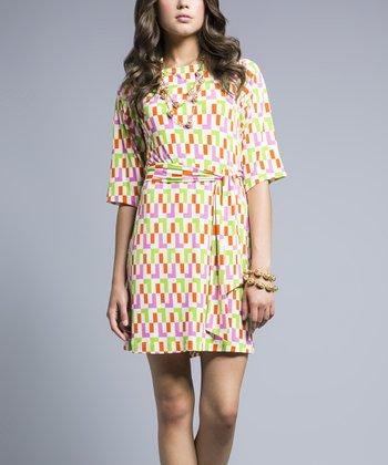 Leota Green & Pink L-Train Wrap Dress