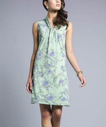 Leota Mint Pretty Bird Sleeveless Shift Dress
