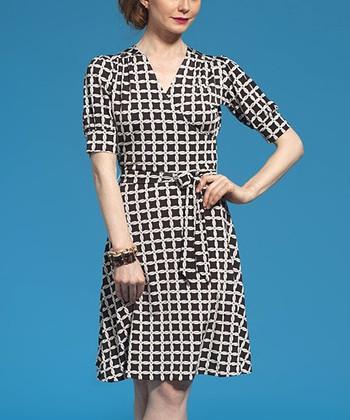 Leota Black & White Square Yacht Wrap Dress
