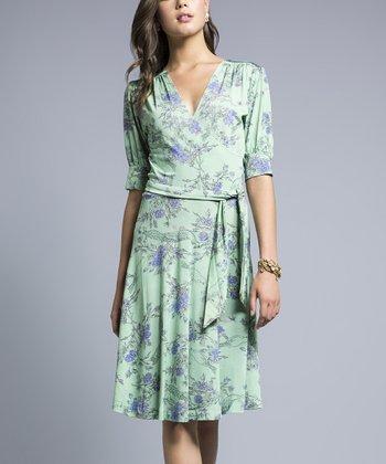 Leota Mint Pretty Bird Wrap Dress