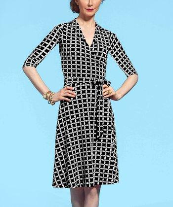 Leota Black & White Yacht Wrap Dress
