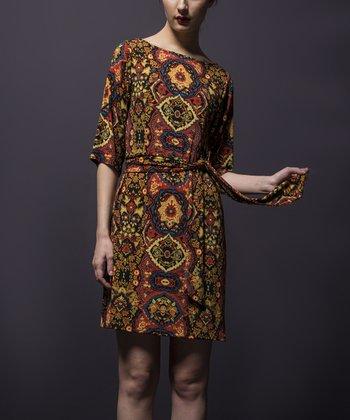 Leota Brown Tapestry Dress