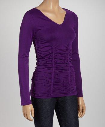 Purple Ruched V-Neck Top