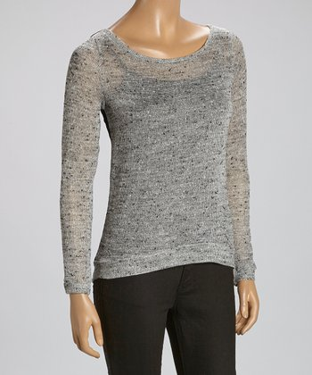 Gray Crochet-Back Boatneck Top