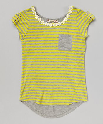 Gray & Yellow Stripe Pocket Hi-Low Tee