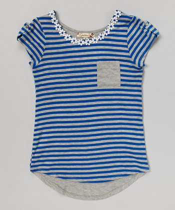 Blue & Gray Stripe Pocket Hi-Low Tee
