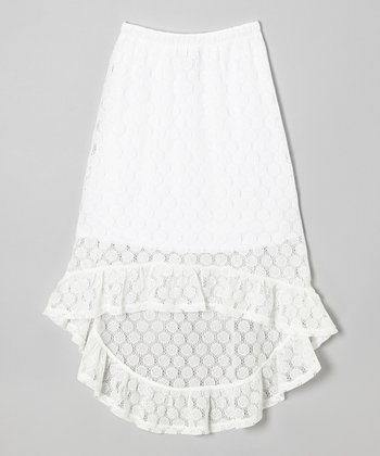 White Dot Lace Hi-Low Skirt