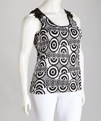 Black & White Retro Ariela Crocheted Top - Plus