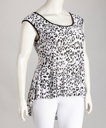 Black & White Leopard Candice Hi-Low Top - Plus