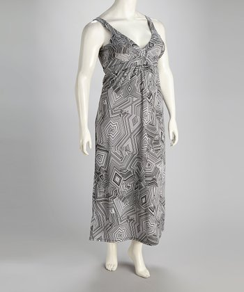 Black & White Jagged Carmel Maxi Dress - Plus