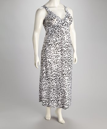 Paw Black & White Leopard Carmel Maxi Dress - Plus