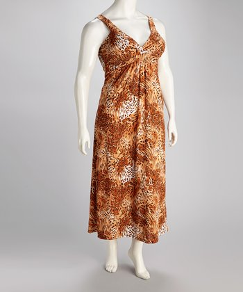 Brown & Taupe Tiger Carmel Maxi Dress - Plus