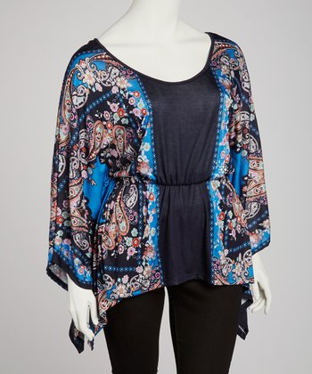 Blue & Black Paisley Cape-Sleeve Top - Plus