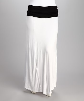 White Mona Maxi Skirt - Plus