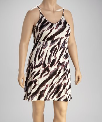 Black & White Zebra Sahara Dress - Plus