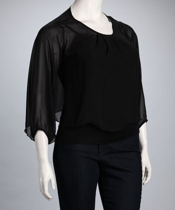Black Sara Plus-Size Dolman Top