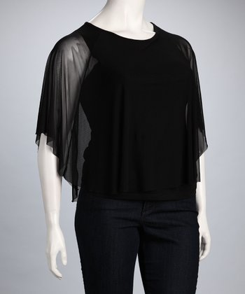 Black Taboo Sheer Dolman Top - Plus