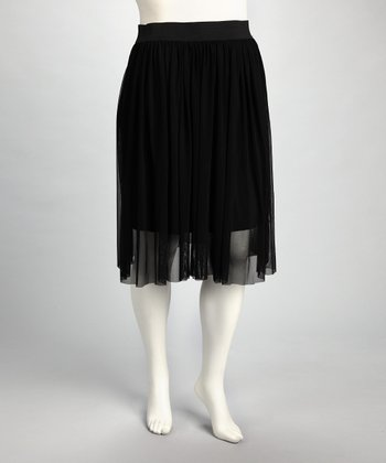 Black Accordian Skirt - Plus