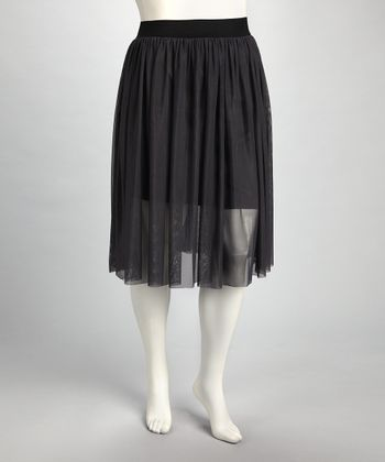 Charcoal Accordian Skirt - Plus