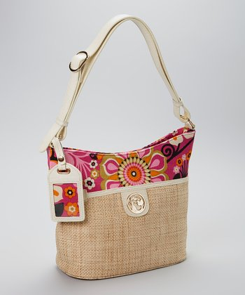 Spartina 449 Pink & Black Sirena Straw Bucket Handbag