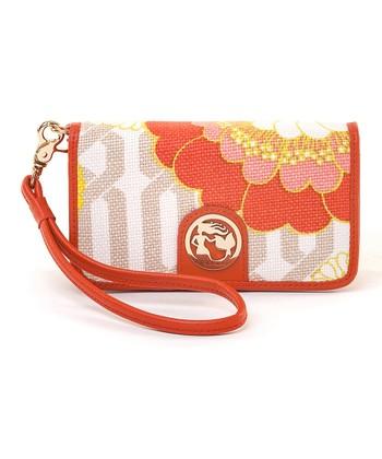 Spartina 449 Orange & Pink Tibi Soli Folio Phone Wallet