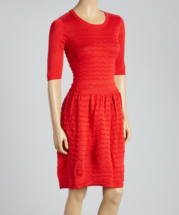 Red Zigzag Seam Scoop Neck Dress